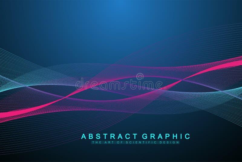 Wektorowy abstrakcjonistyczny tło z barwione dynamiczne fala, linia i cząsteczki, Falowy przepływ Cyfrowej częstotliwości ślad ilustracji
