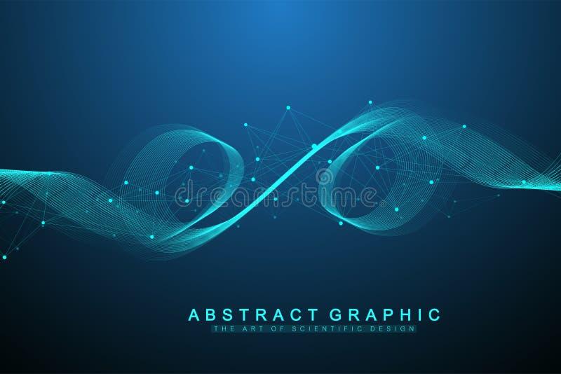 Wektorowy abstrakcjonistyczny tło z barwione dynamiczne fala, linia i cząsteczki, Falowy przepływ Cyfrowej częstotliwości ślad royalty ilustracja