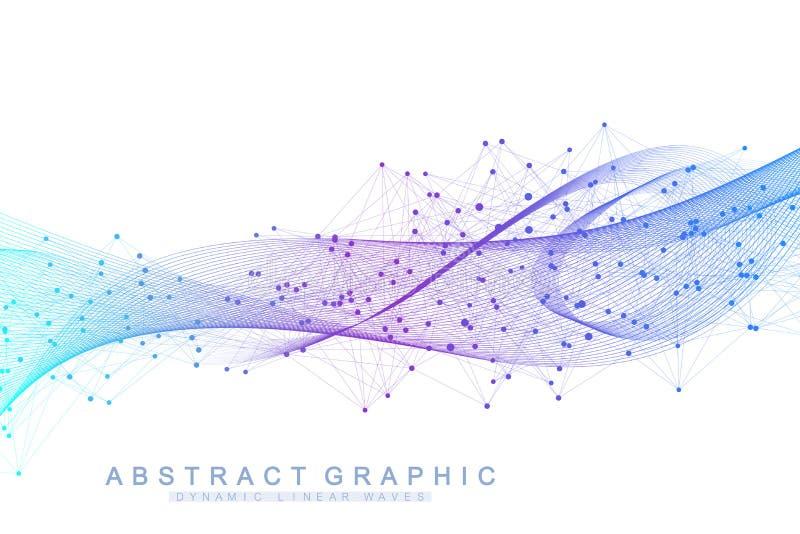 Wektorowy abstrakcjonistyczny tło z barwione dynamiczne fala, linia i cząsteczki, Falowy przepływ Cyfrowej częstotliwości ślad ilustracja wektor