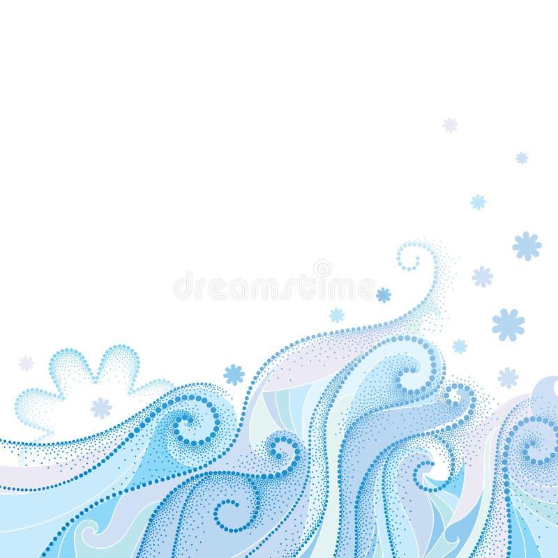 Wektorowy abstrakcjonistyczny tło z kropkowanymi kędzierzawymi zawijasami, błękitnymi falistymi liniami i płatkami śniegu odizolo ilustracji
