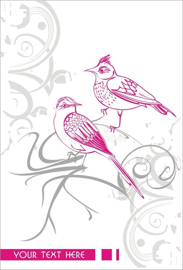 Wektorowy abstrakcjonistyczny tło z ptakami zdjęcia stock