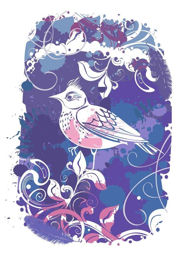 Wektorowy abstrakcjonistyczny tło z ptakami obraz stock