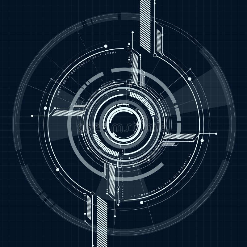 Wektorowy abstrakcjonistyczny technologiczny interfejs na siatka stylu tle royalty ilustracja