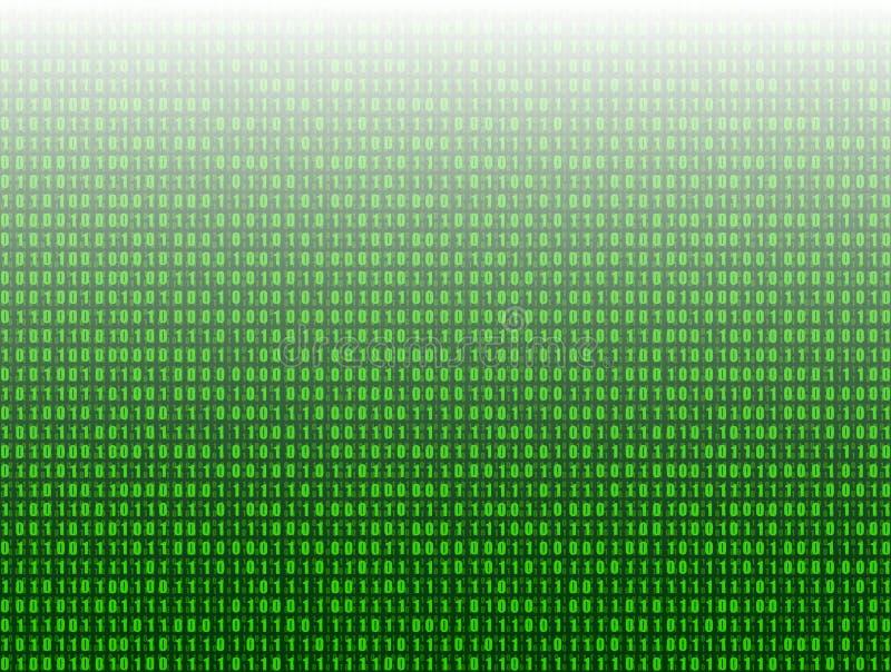 Wektorowy Abstrakcjonistyczny technologii tło, 3D skutek, Zieleni Binarnego kodu dane ilustracji