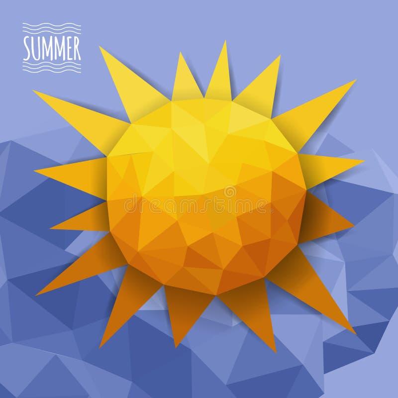 Wektorowy abstrakcjonistyczny trójbok z chmurami i słońcem ilustracja wektor