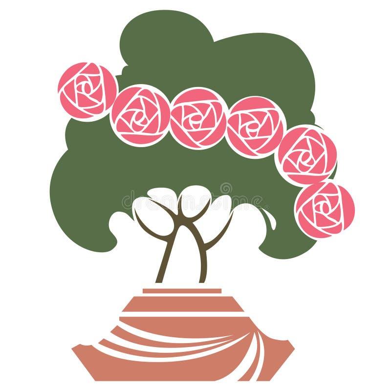 Wektorowy abstrakcjonistyczny wizerunek krzak z różami w garnku royalty ilustracja