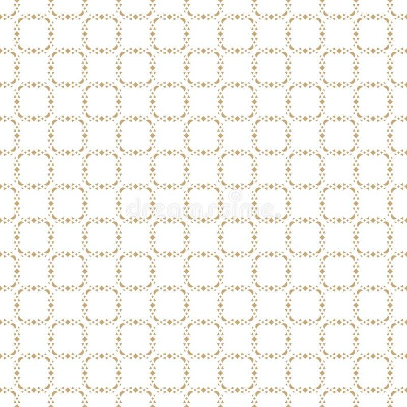Wektorowy abstrakcjonistyczny złocisty geometryczny bezszwowy wzór Delikatny siatka ornament ilustracja wektor