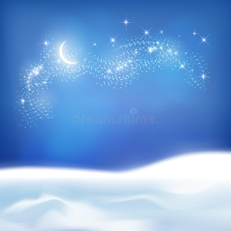 Wektorowy Abstrakcjonistyczny zimy nocy tło ilustracji