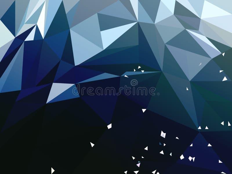 Wektorowy Abstrakcjonistyczny zmrok - błękitny Poligonalny tło ilustracja wektor