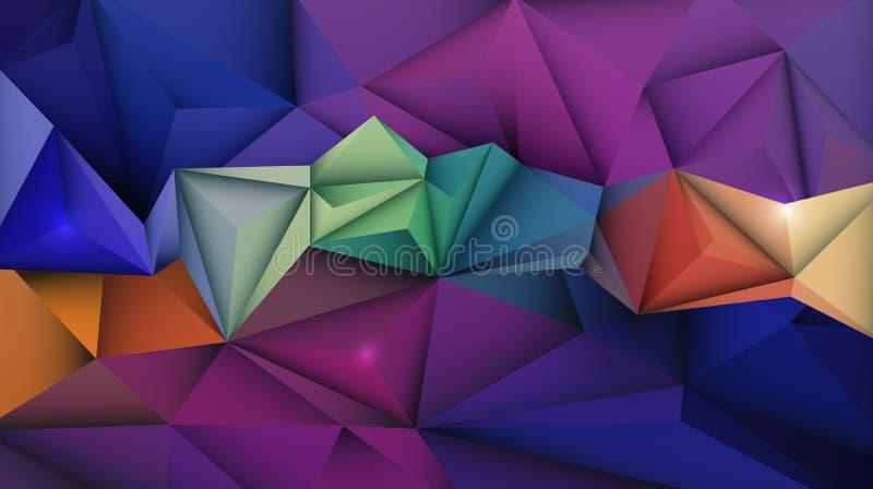 Wektorowy abstrakt 3D Geometryczny, Poligonalny, trójboka wzoru kształt ilustracji