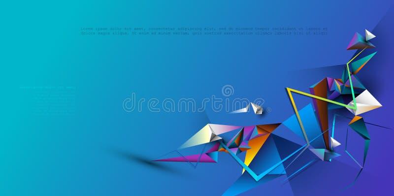 Wektorowy abstrakt 3D Geometryczny, wieloboka tła projekt Multicolor, błękitny, purpurowy, żółty i zielony kolor w trójboka wzorz ilustracja wektor