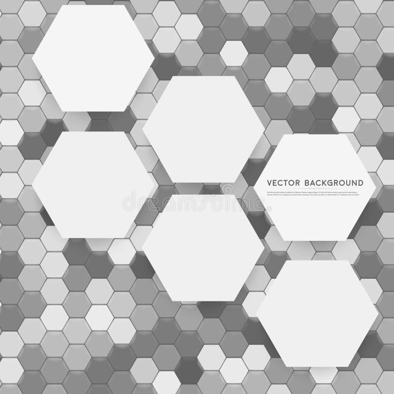 Wektorowy abstrakt 3d heksagonalny royalty ilustracja