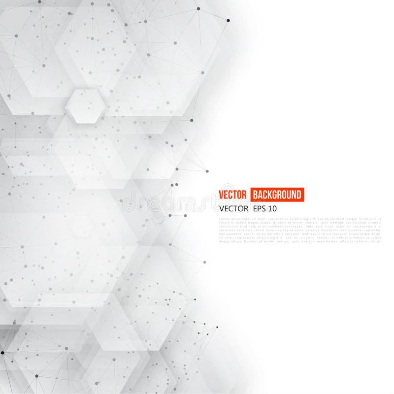 Wektorowy abstrakt 3d heksagonalny ilustracja wektor