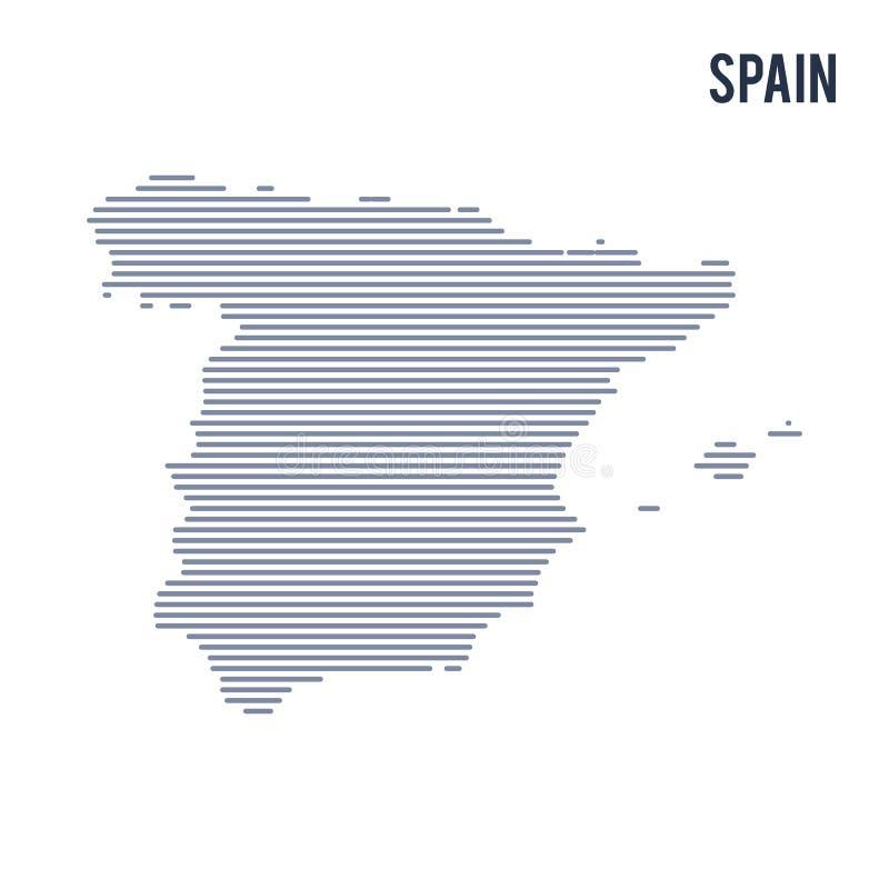 Wektorowy abstrakt kluł się mapę Hiszpania z liniami odizolowywać na białym tle royalty ilustracja