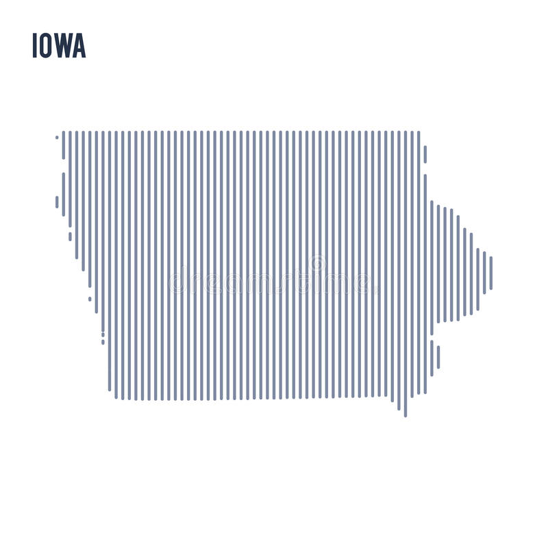 Wektorowy abstrakt kluł się mapę stan Iowa z pionowo liniami odizolowywać na białym tle ilustracja wektor