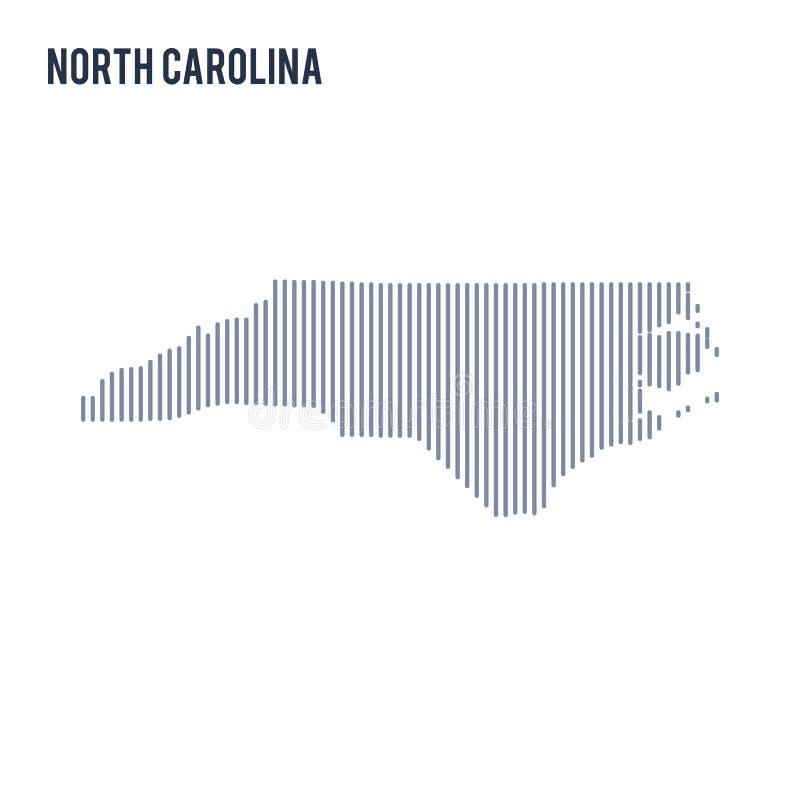 Wektorowy abstrakt kluł się mapę stan Pólnocna Karolina z pionowo liniami odizolowywać na białym tle ilustracja wektor