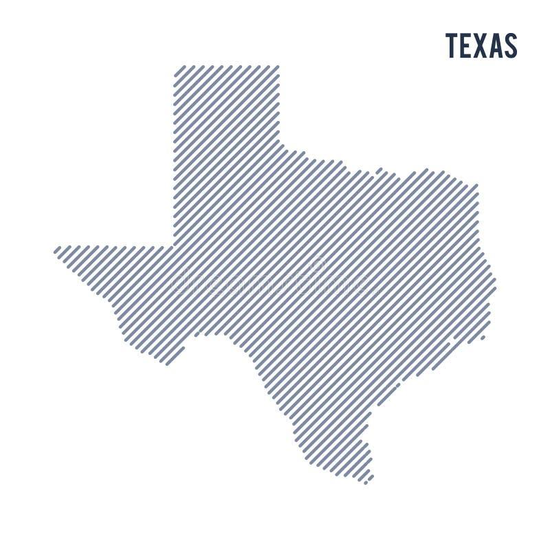 Wektorowy abstrakt kluł się mapę stan Teksas z pochylonymi liniami odizolowywać na białym tle royalty ilustracja