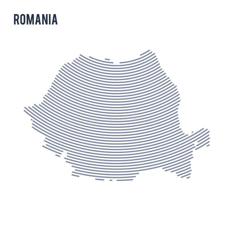 Wektorowy abstrakt klująca się mapa Rumunia z krzyw liniami odizolowywać na białym tle royalty ilustracja