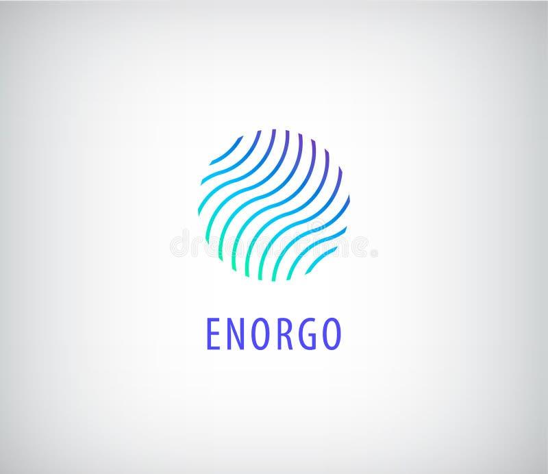 Wektorowy abstrakt macha w okręgu kolorowym logu Energia, woda ilustracja wektor