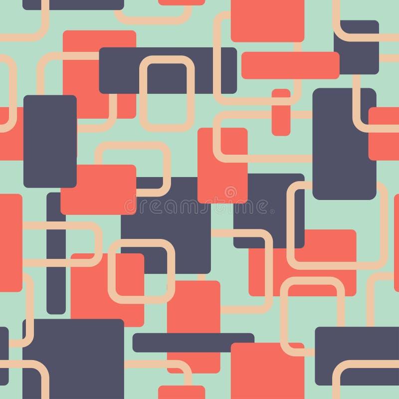 Wektorowy abstrakt obciosuje bezszwowego vitage zieleni i czerwieni wzór ilustracja wektor