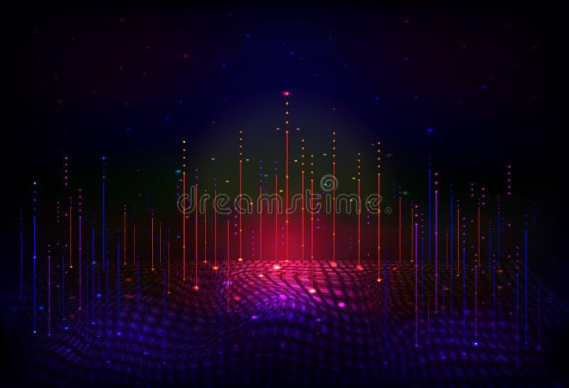 Wektorowy abstrakta 3D dane duży unaocznienie na astronautycznym nocy tle ilustracji
