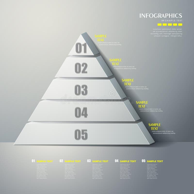 Wektorowy abstrakta 3d ostrosłupa typ infographics ilustracji