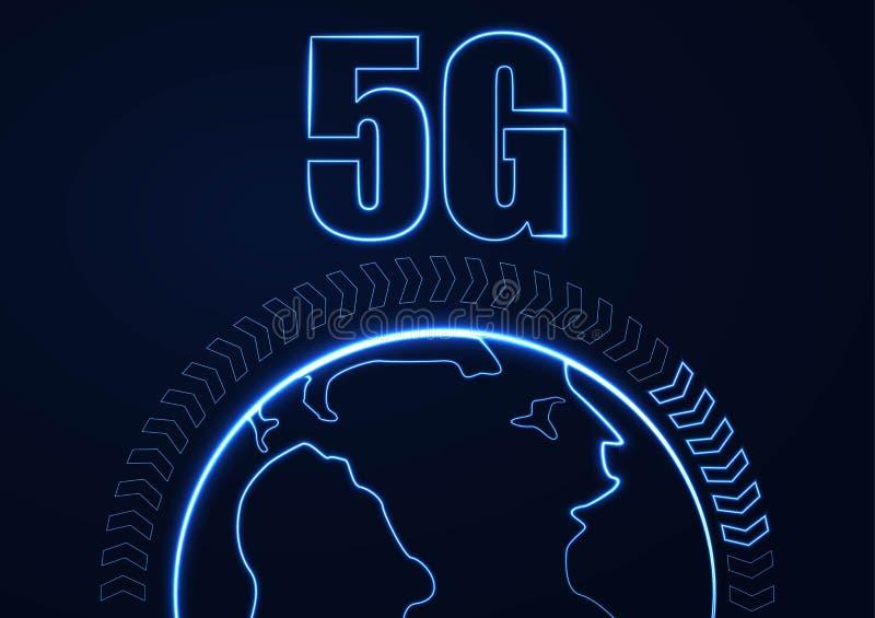 Wektorowy abstrakta 5G po??czenie z internetem nowy bezprzewodowy t?o Globalnej sieci pr?dko?ci wysoka sie? 5G symbol construted  ilustracja wektor