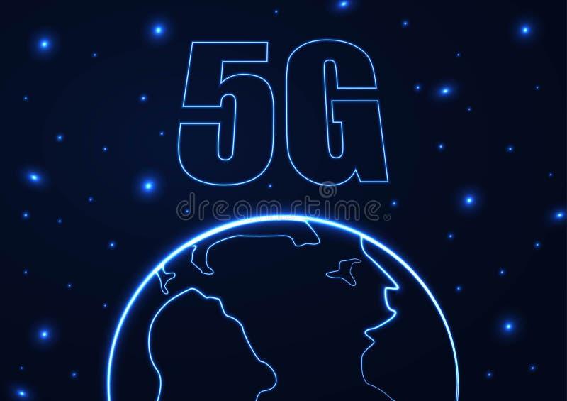 Wektorowy abstrakta 5G po??czenie z internetem nowy bezprzewodowy t?o Globalnej sieci pr?dko?ci wysoka sie? 5G symbol construted  ilustracji