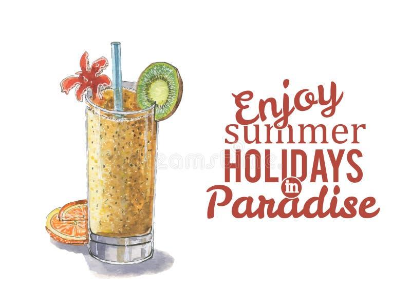Wektorowy akwarela koktajl z słowa i cieszymy się wakacje letnich w raju « ilustracji