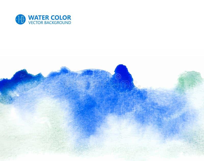 Wektorowy akwarela obrazu tło, Błękitny tło, akwarela rendering, akwareli tekstury skutek ilustracja wektor