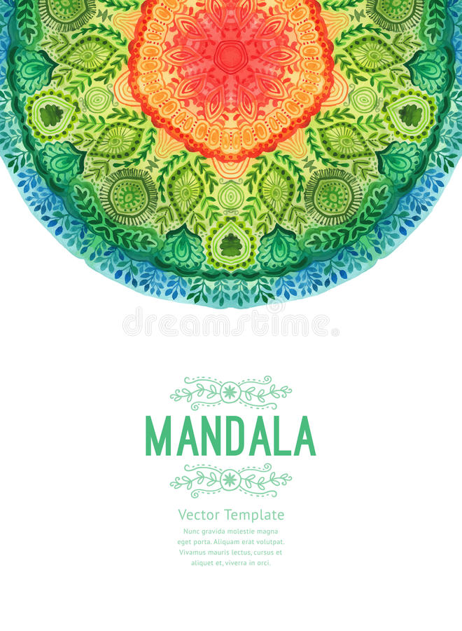 Wektorowy akwareli mandala Wystrój dla twój projekta, koronkowy ornament Round wzór, orientalny styl royalty ilustracja