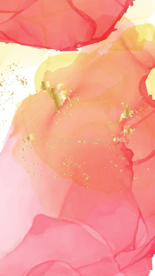 Wektorowy akwareli powtórki ciecza przepływ w czerwonych pomarańcze kolorach z złocistymi błyskotliwość Wektorowy kontrasta alkoh ilustracji