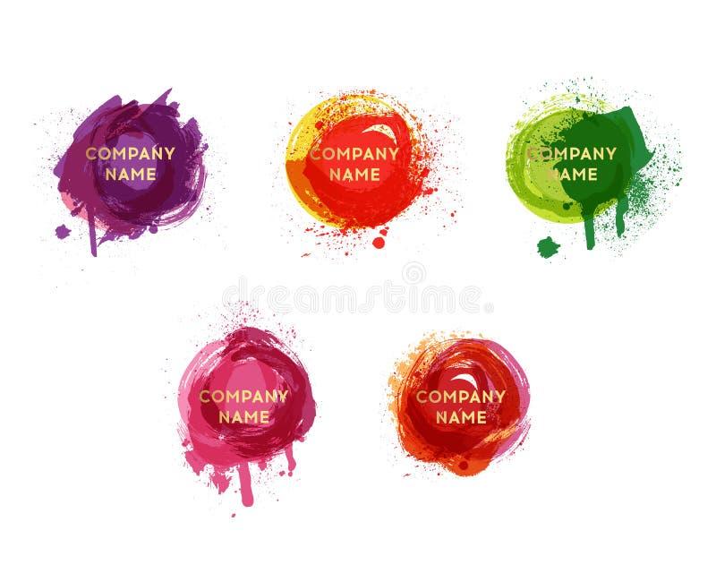 Wektorowy akwareli tło Akwarela bryzga teksturę i kropkuje Artystyczny handdrawn tło Farby splat set ilustracji