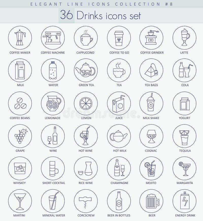 Wektorowy alkohol, herbata i kawowi napoje, zarysowywamy ikona set Elegancki Cienki kreskowego stylu projekt royalty ilustracja