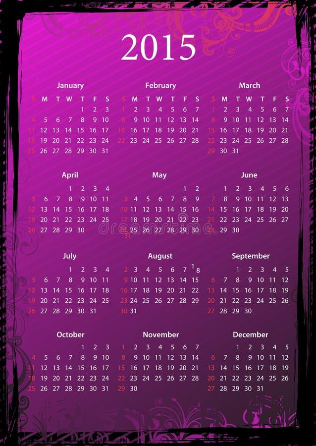 Wektorowy Amerykański kwiecisty różowy grungy kalendarz 2015 royalty ilustracja