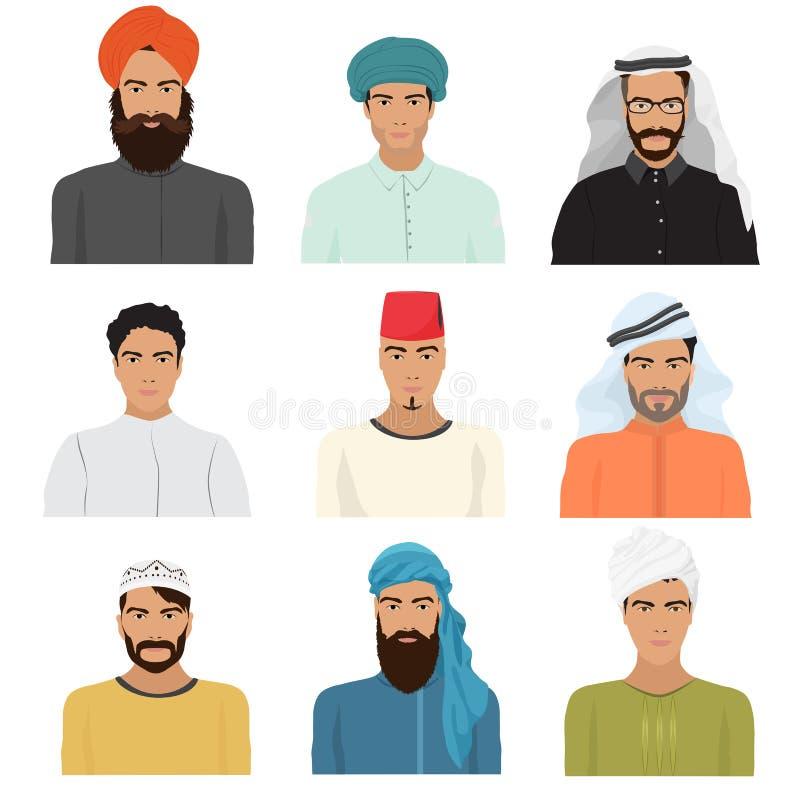Wektorowy arabski arabski islamski męski mężczyzna charakter stawia czoło avatars w różnych odzieżowych i włosianych stylach royalty ilustracja