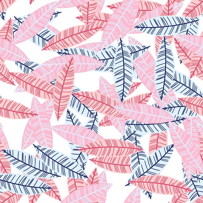 Wektorowy artystyczny bezszwowy wzór w scandinavian stylu Upaćkani praforma liście Prosta północna ilustracja royalty ilustracja