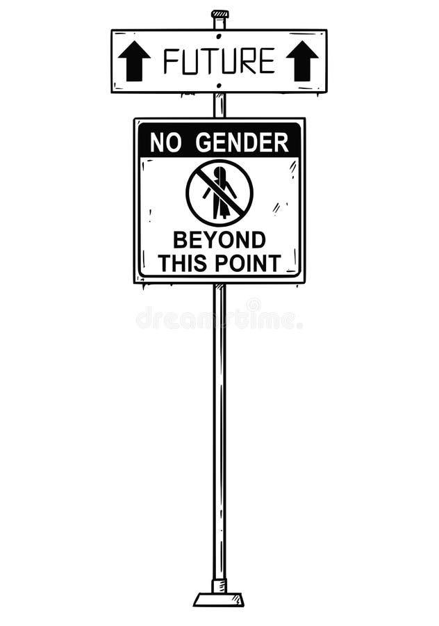 Wektorowy Artystyczny rysunek ruch drogowy strzała znak Z przyszłością i Żadny rodzaj Poza Ten punktu teksty royalty ilustracja