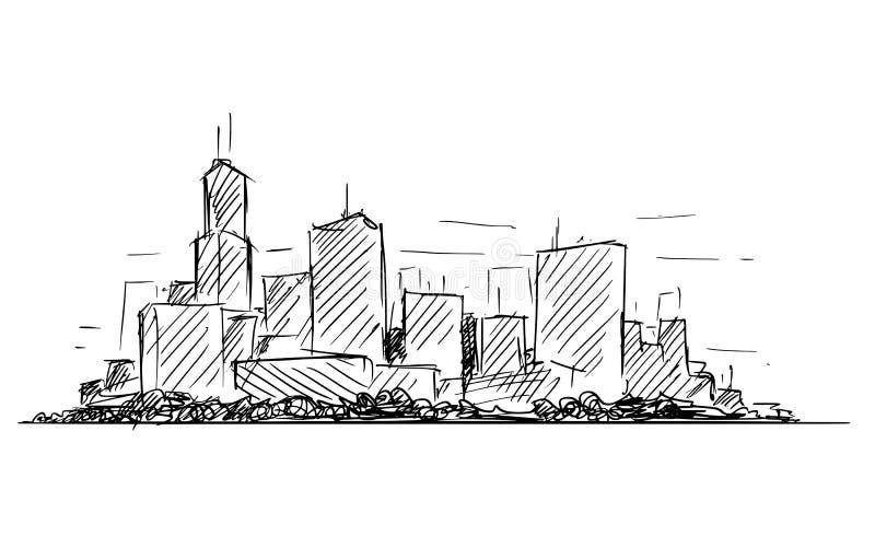 Wektorowy Artystyczny rysunku nakreślenie Rodzajowego miasta wzrosta pejzażu miejskiego Wysoki krajobraz z drapaczy chmur budynka royalty ilustracja