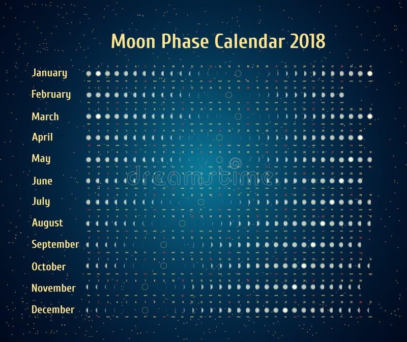 Wektorowy astrologiczny kalendarz dla 2018 Księżyc fazy kalendarz w nocy gwiaździstym niebie Kreatywnie księżycowy kalendarz z da ilustracji