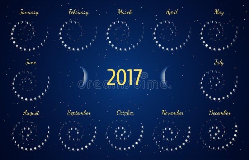 Wektorowy astrologiczny spirala kalendarz dla 2017 Księżyc fazy kalendarz w nocy gwiaździstym niebie royalty ilustracja