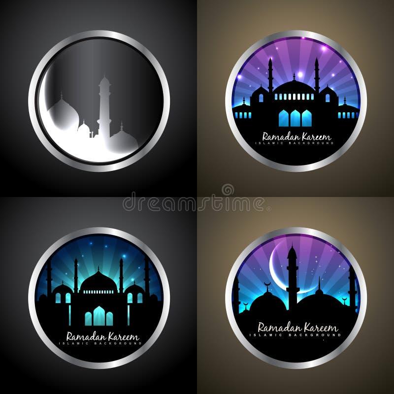 Wektorowy atrakcyjny tło ustawiający Ramadan kareem festiwalu illu ilustracji