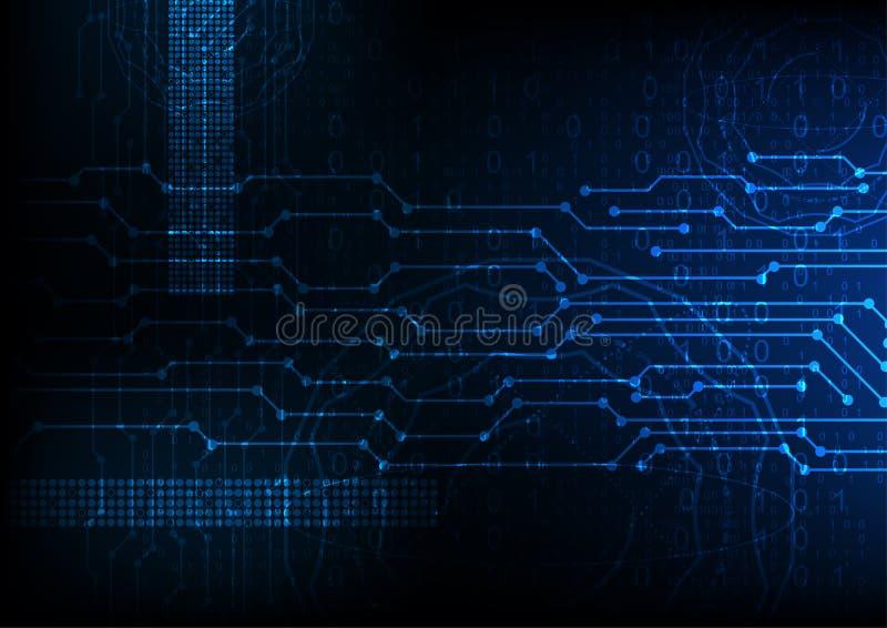 Wektorowy błękitny przyszłościowy abstrakcjonistyczny technologii tło, cyfrowych dane utajnianie royalty ilustracja