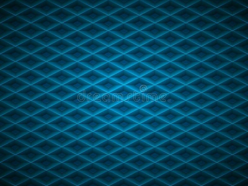 Wektorowy błękit embossed deseniowy plastikowy siatki tło Technologia kształta diamentowej komórki geometryczny wzór royalty ilustracja