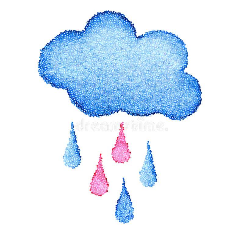 Wektorowy błękit kropkujący chmury i raindrops tło ilustracja wektor