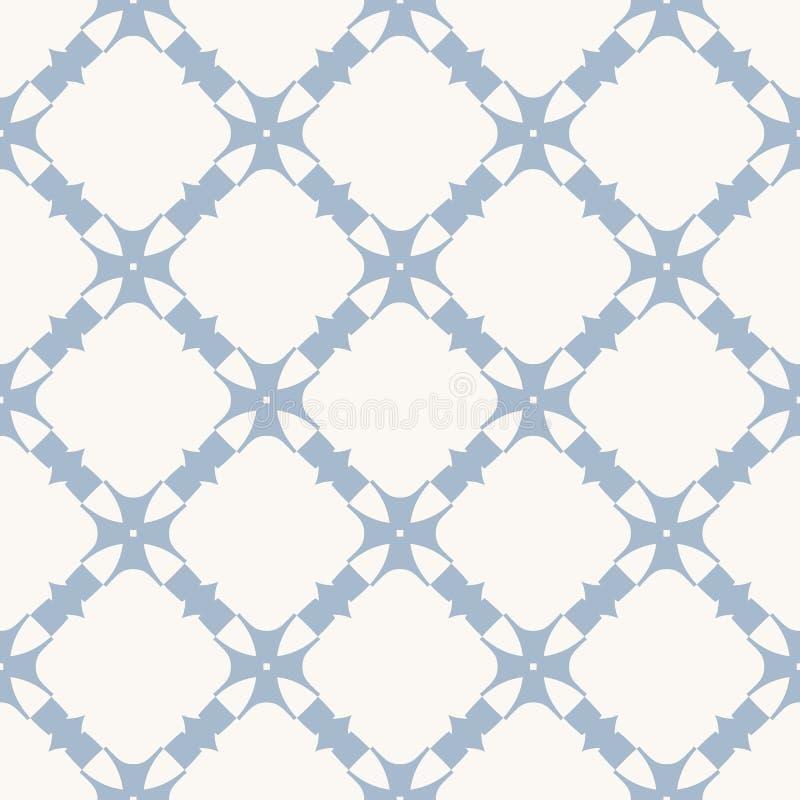 Wektorowy błękitny abstrakcjonistyczny bezszwowy wzór z kwiecistymi kształtami, rzeźbiąca siatka, kratownica, krzyże, powtórek pł royalty ilustracja