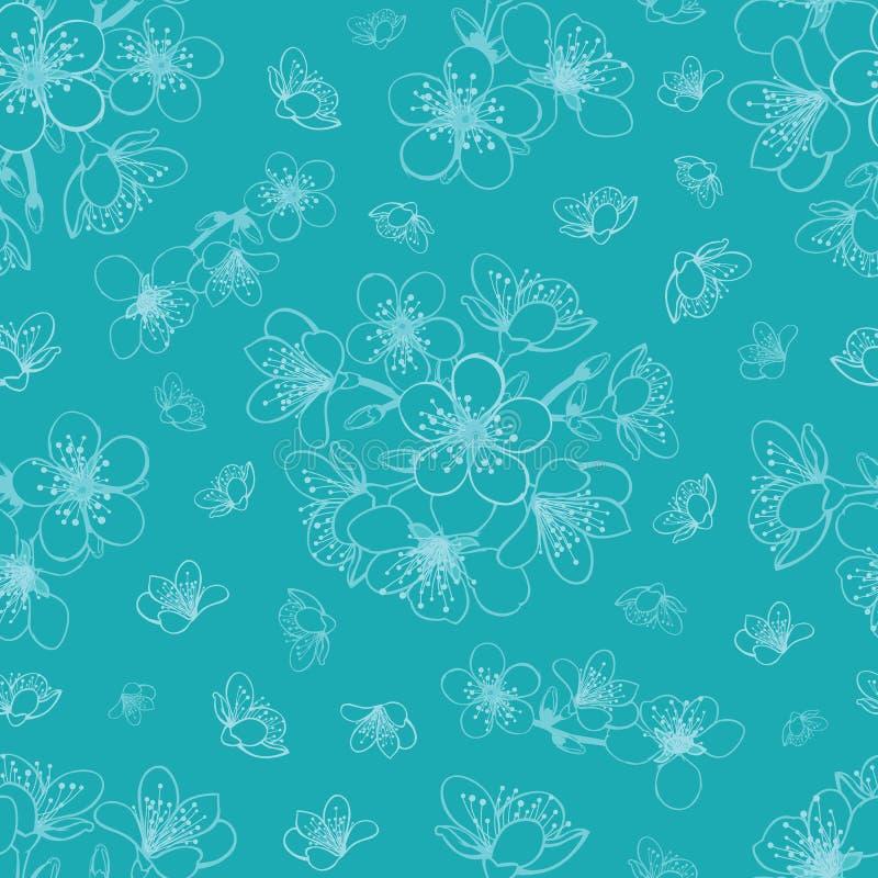 Wektorowy błękitny cyan czereśniowy okwitnięcie Sakura kwitnie bezszwowego deseniowego tło royalty ilustracja