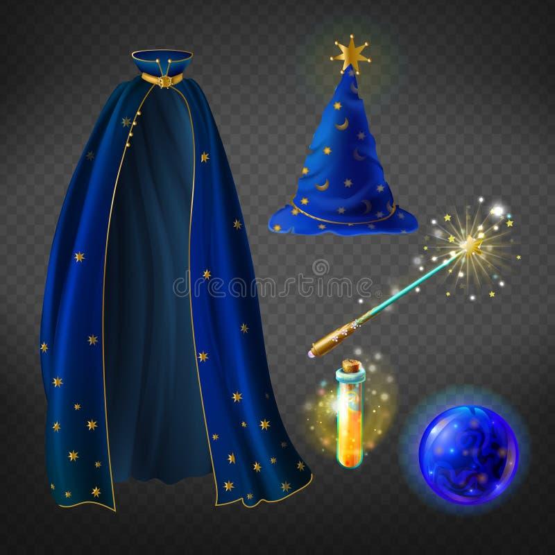 Wektorowy błękitny czarownika kostium, set z akcesoriami royalty ilustracja