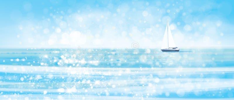 Wektorowy błękitny denny tło i jacht royalty ilustracja