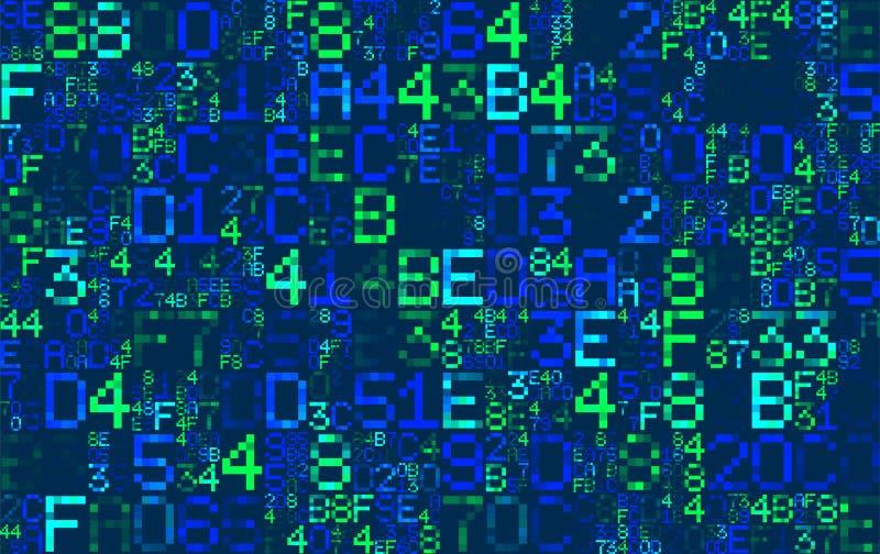 Wektorowy Błękitny heksadecymalny komputerowy kod tło abstrakcyjna matrycy szturmowa pluskwy hackera klawiatura machinalna Wytwar ilustracja wektor